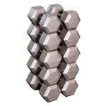 BODY-SOLID (SDS650) Grey Cast Hex Dumbell Set 55 - 75 lb Pairs