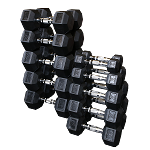 BODY-SOLID Rubber Hex Dumbell 105-120 lb pairs (SDRSHEAVY)