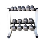 CAP 150 lb. Solid Gray Hex Exercise Dumbbell Set with Rack
