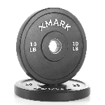 THE X-MARK Bumper Plates - 10 lb Pair - Black with Stainless Steel Inserts XM-3385-10-P