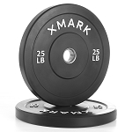 THE X-MARK Bumper Plates - 25 lb Pair - Black with Stainless Steel Inserts XM-3385-25-P