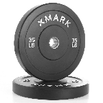 THE X-MARK Bumper Plates - 35 lb Pair - Black with Stainless Steel Inserts XM-3385-35-P