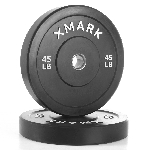 THE X-MARK Bumper Plates - 45 lb Pair -Black with Stainless Steel Inserts XM-3385-45-P