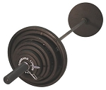 USA SPORTS Olympic Black Weight Plate Set 300 lbs. w/ Black Bar