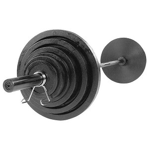 BODY-SOLID (OSB500S) 500 LB Black Cast Olympic Set, Black Bar