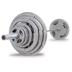 BODY-SOLID (OST300S) 300 LB Steel Grip Olympic Set, Chrome Bar