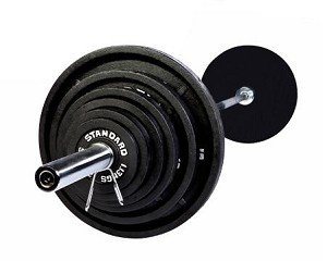 USA SPORTS Olympic Black Weight Plate Set 300 lbs. w/ Chrome Bar