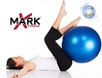 THE X-MARK 60cm - 65cm Anti Burst Exercise Ball with Pump and Workout DVD
