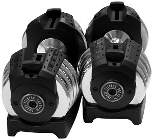 THE X-MARK Pair of 50 lb. Weight Lifting Adjustable Dumbbells (XM-3307-2)