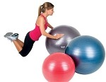AEROMAT Deluxe Burst Resistant Ab Exercise Ball Kit - (55cm) Red (38111)