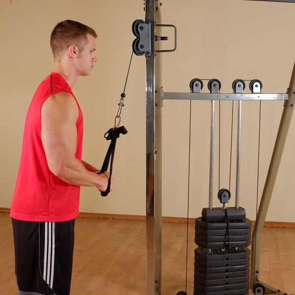 Red Pulley Machine Functional Trainer w/ 190 lb  Weight Stack (Home Gym  Use) by Best Fitness