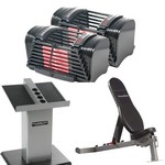 Series 50 lb. EXP Gym Package w/ Adjustable Dumbbells, Sport Bench, Stand (Home Gym Use) by PowerBlock