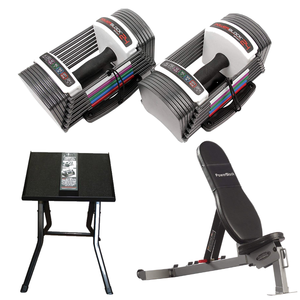 PowerBlock Sport Gym Package w/ Adjustable Dumbbell, SportBench, Stand (Home Gym Use)