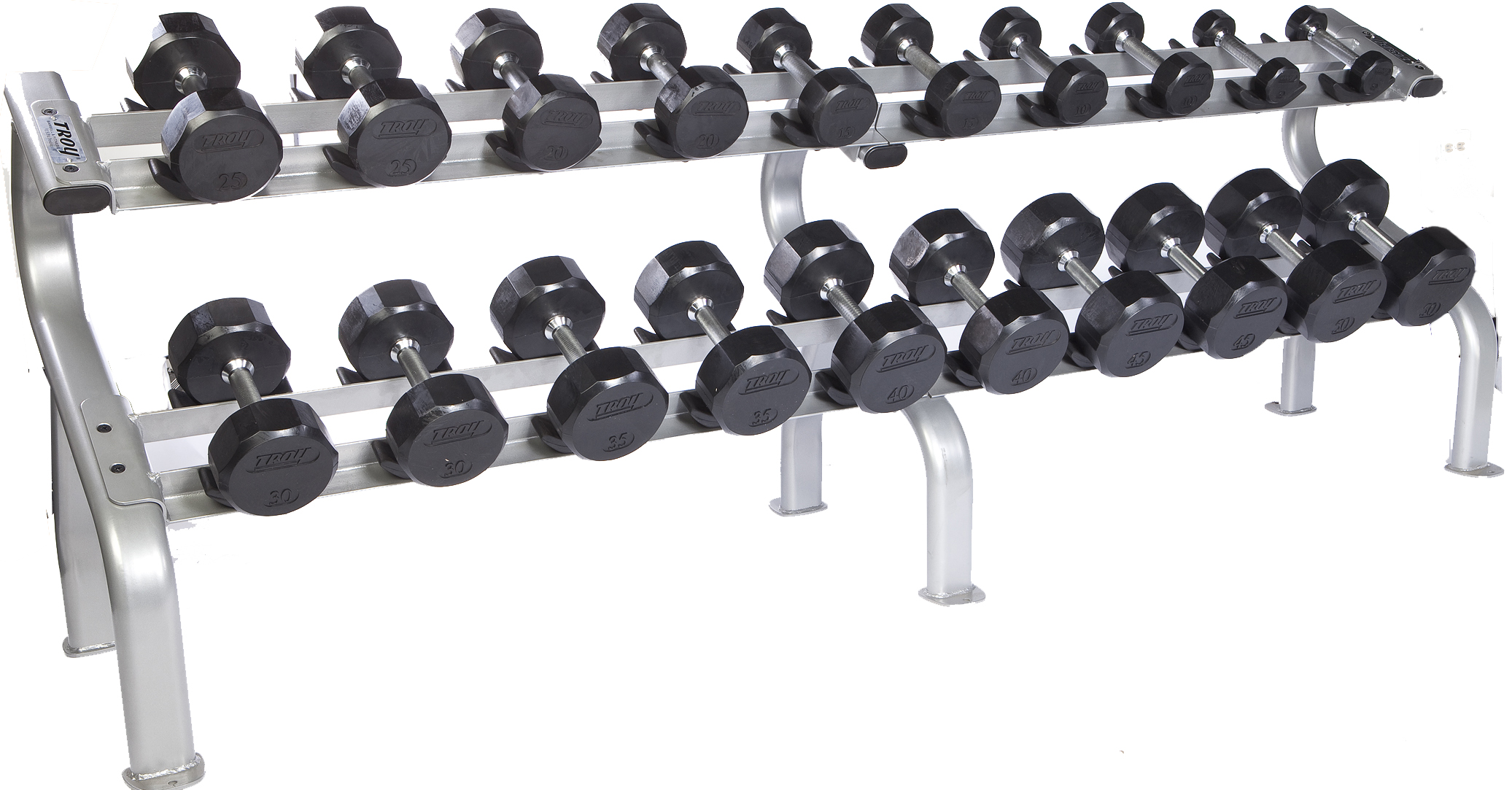 Troy 5-50 lbs. (10 Pairs) Rubber Dumbbell Weight Set w/ Rack - Flat 12-Sided Head (Commercial Gym Quality) by Troy Barbell