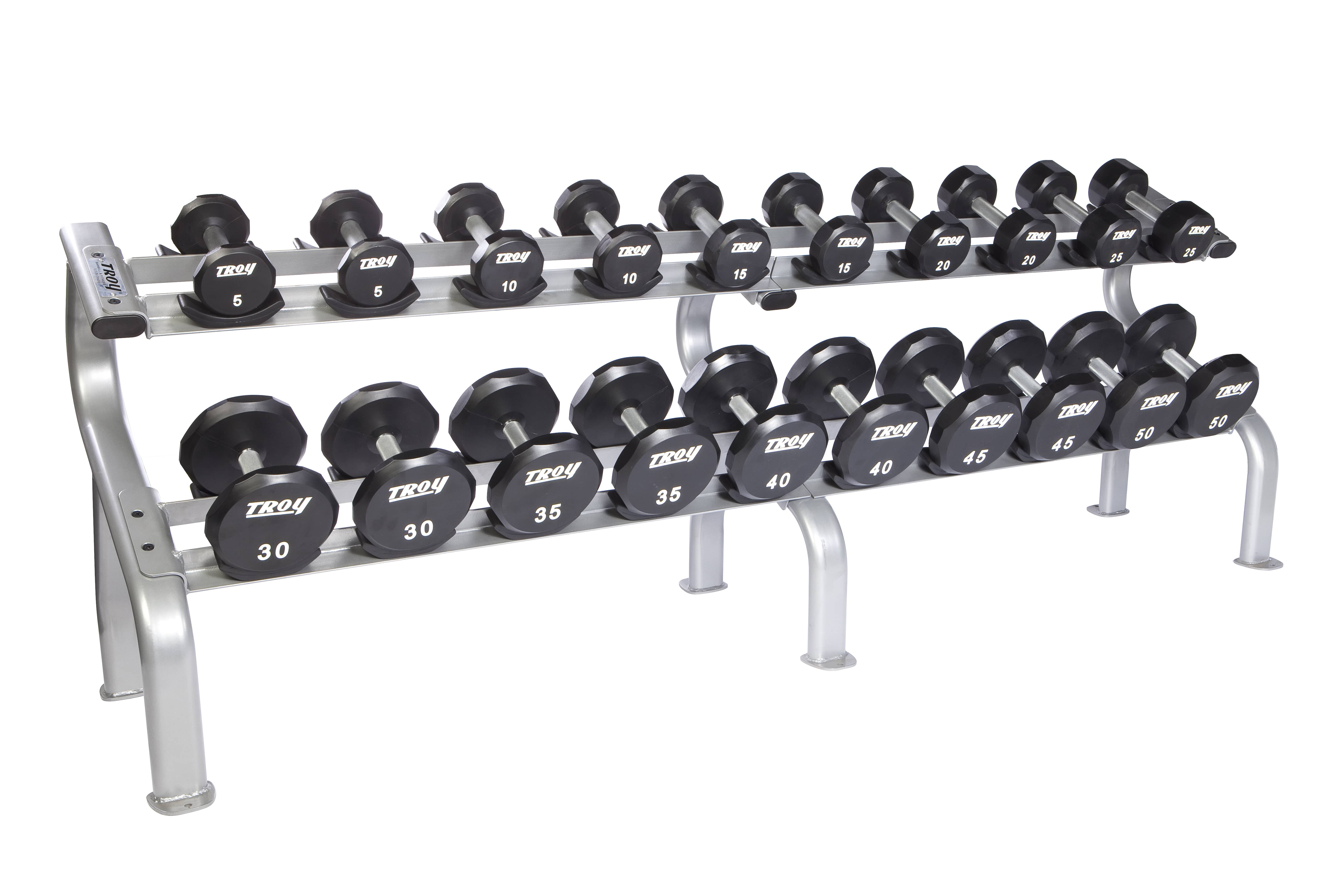 Troy 5-100 lbs. (20 Pairs) Urethane Dumbbell Weight Set w/ 2 Racks - Flat 12-Sided Head (Commercial Gym Quality) by Troy Barbell