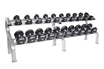 5-50 lbs. (10 Pairs) Urethane Dumbbell Weight Set w/ Rack - Flat 12-Sided Head (Commercial Gym Quality) by Troy Barbell
