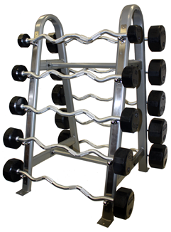 Rubber Curl Barbells 20lbs -110lbs Set on Horizontal Barbell Rack (Commercial Gym Quality) by Troy Barbell