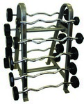 Urethane Curl Barbells 20lbs -110lbs Set on Horizontal Barbell Rack (Commercial Gym Quality) by Troy Barbell
