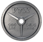 100 lbs. Cast Iron Olympic Weight Plate w/ Interlocking Grip (Commercial Gym Quality) by VTX