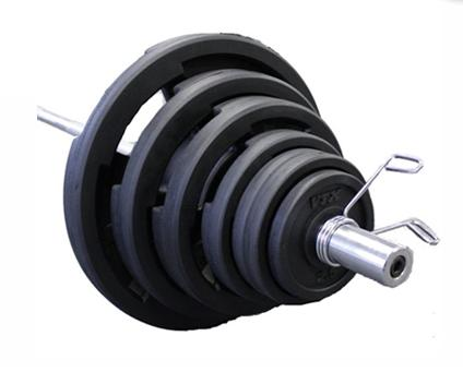 300 lbs. Olympic Rubber Weight Plate Set with Barbell and Rack - (Commercial Gym Quality) by Troy