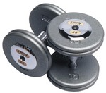 Troy 140 lbs. Pair Dumbbell Weight, Round Gray Hammerstone Plates w/ Chrome End Cap, Pro-Style (Commercial Gym Quality)