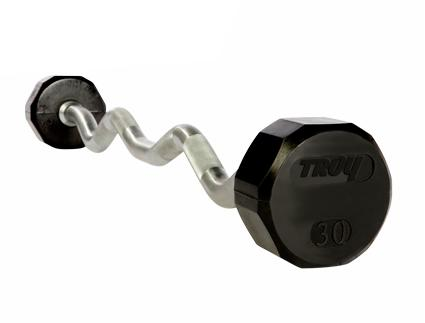 EZ-Curl Contoured Barbells, 650 Lbs. 10 Bar Set Rubber Encased (Commercial Gym Quality) by Troy Barbell
