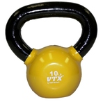 10 Lbs. Vinyl Dipped Kettle Bell Weight - Yellow (Professional Gym Quality) by VTX