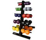 Vinyl Small Dumbbell Weight Set with Rack, 1-10 lbs. Colored Pairs (Commercial Gym Quality) by VTX