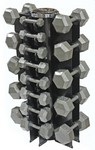 5-50 lb. Pairs, Dumbbell Weight Set with Rack, Hex Cast Iron Head w/ 4 Sided Vert Rack (for Home Gym) by USA Sports