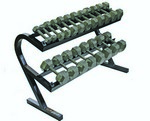 5-50 lb. Pairs, Dumbbell Weight Set with Rack, Hex Cast Iron Head w/ Rail Rack (for Home Gym) by USA Sports