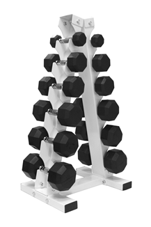 5-30 lb. Pairs, Dumbbell Weight Set with Rack, Rubber Flat 8-Sided Head w/ A- Frame Rack (Heavy Duty Construction) by VTX