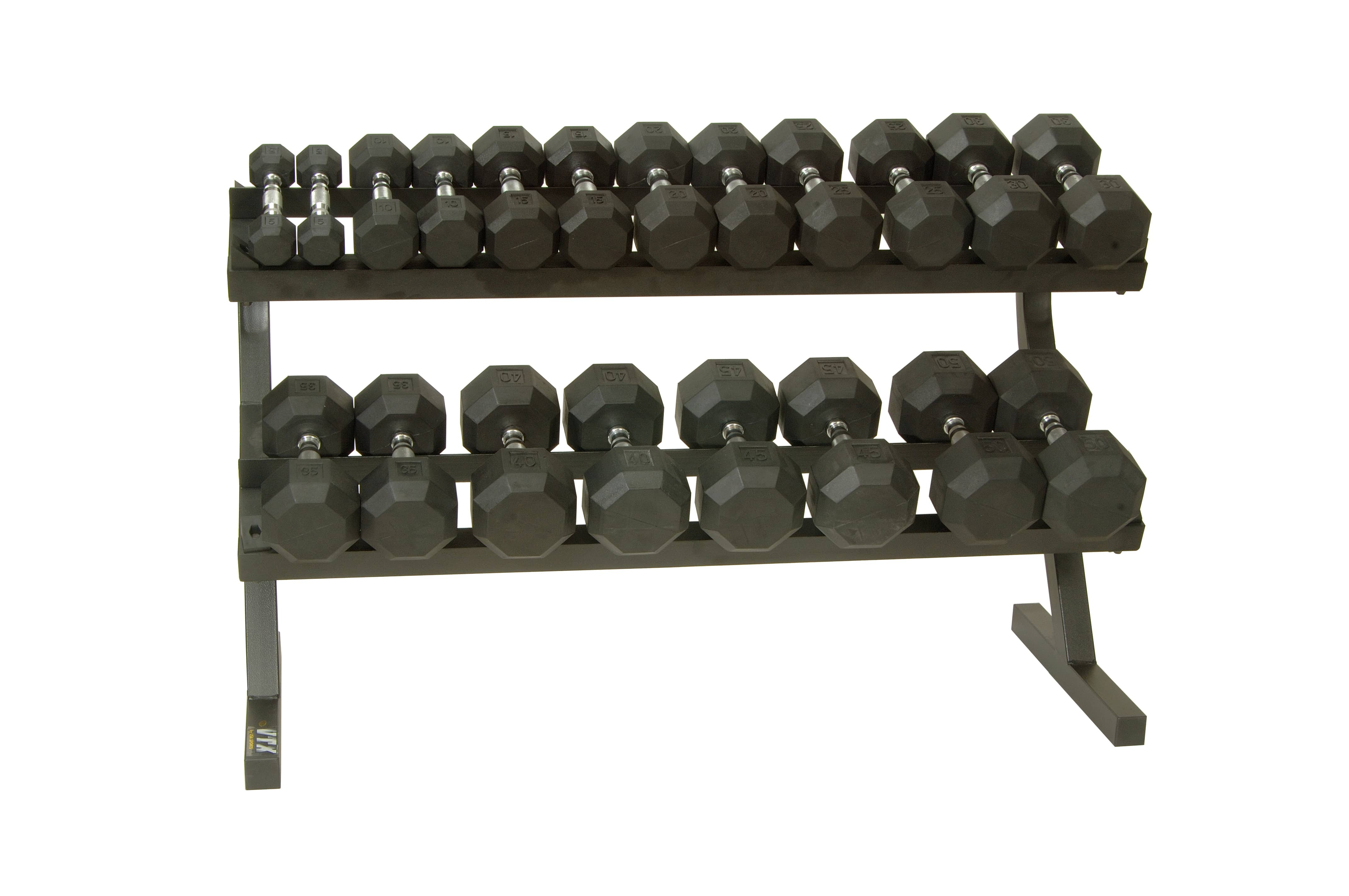 5-50 lb. Pairs, Dumbbell Weight Set with Rack, Rubber Flat 8-Sided Head w/ Rail Rack (Heavy Duty Construction) by VTX
