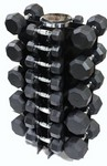 5-50 lb. Pairs, Dumbbell Weight Set with Rack, Rubber Flat 8-Sided Head w/ 4 Sided Vert Rack (Heavy Duty Construction) by VTX