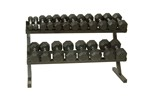 5-50 lb. Pairs, Dumbbell Weight Set with Rack, Rubber Flat 12-Sided Head w/ Rail Rack (Heavy Duty Construction) by Troy