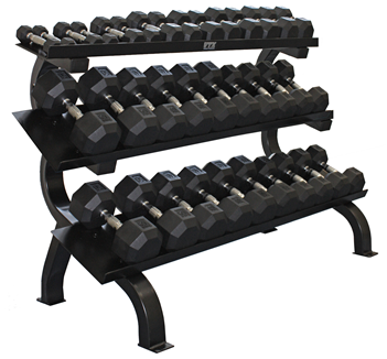 5-75 lb. Pairs, Dumbbell Weight Set with Rack, Rubber Flat 8-Sided Head w/ 3 Tier Shelf Rack (Heavy Duty Construction) by VTX