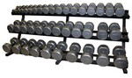 5-100 lb. Pairs, Dumbbell Weight Set with Rack, Cast Iron Flat 12-Sided Head w/ 3 Tier Rail Rack (Heavy Duty Construction) by VTX