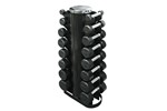 Troy Dumbbell Weight Set with Rack, 3-25 lb. Pairs - Rubber Flat 12-Sided Head w/ 2 Sided Vert Rack (Commercial Gym Quality)