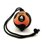 Medicine Ball with Rope - 4 lb. Black / Orange  (Professional Gym Quality) by AeroMat
