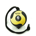 Medicine Ball with Rope - 6 lb. Black / Yellow (Professional Gym Quality) by AeroMat