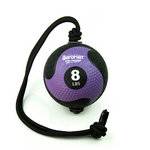 Medicine Ball with Rope - 8 lb. Black / Purple (Professional Gym Quality) by AeroMat