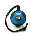 Medicine Ball with Rope - 10 lb. Black / Blue  (Professional Gym Quality) by AeroMat