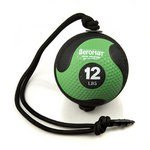 Medicine Ball with Rope - 12 lb. Black / Green (Professional Gym Quality) by AeroMat