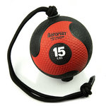 Medicine Ball with Rope - 15 lb. Black / Red (Professional Gym Quality) by AeroMat
