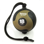 Medicine Ball with Rope - 18 lb. Black / Bronze  (Professional Gym Quality) by AeroMat