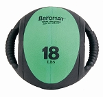 Medicine Ball with Handles - 18 lb. Green (Professional Gym Quality) by AeroMat
