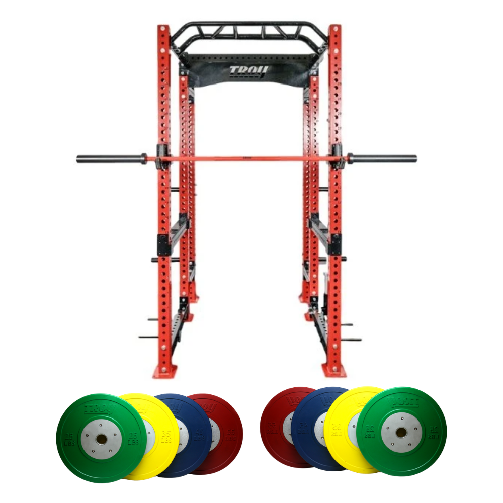 Red Power Rack Cage w/ Bar & Bumper Plates (Commercial Gym Quality) by Troy Barbell