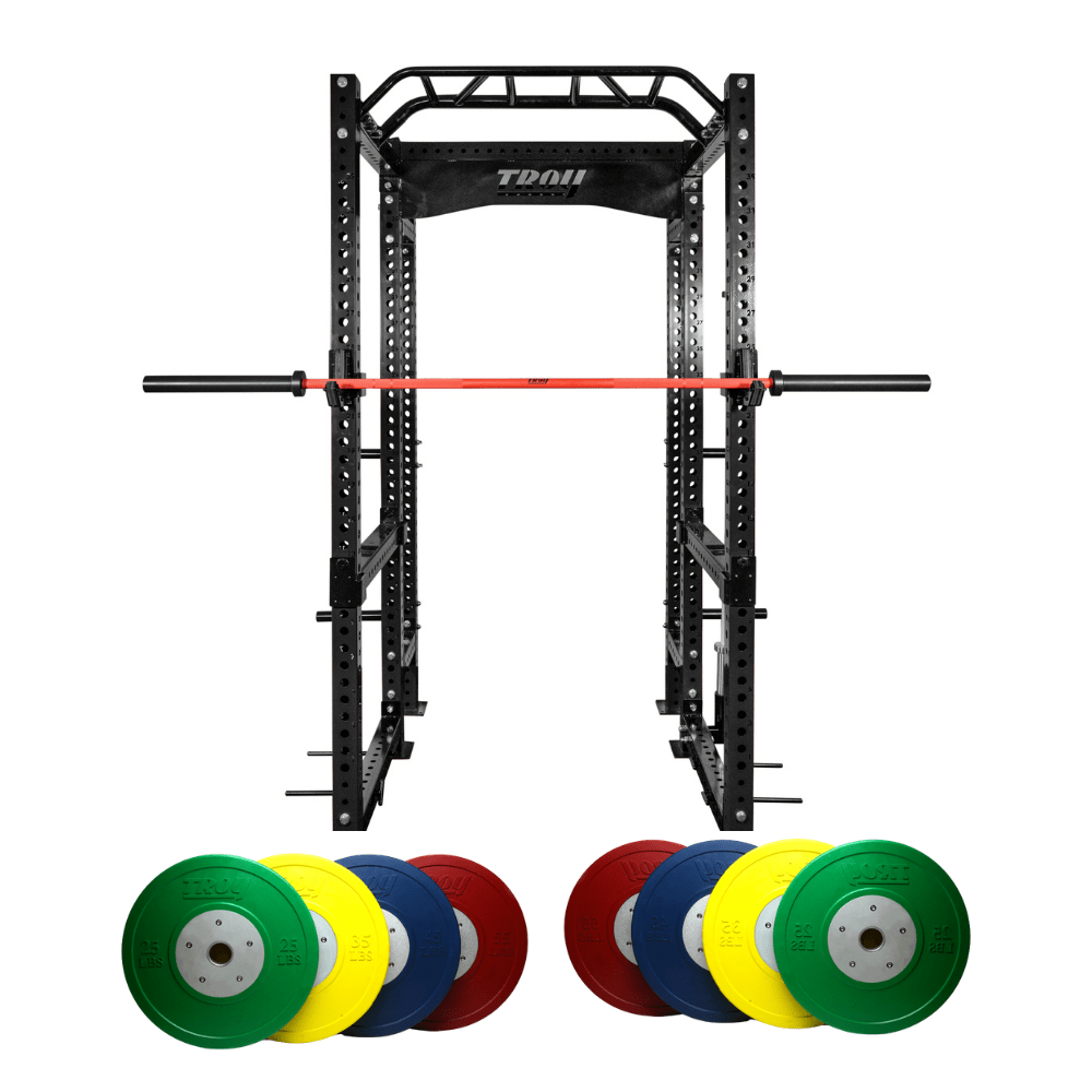 Black Power Rack Cage w/ Bar & Bumper Plates (Commercial Gym Quality) by Troy Barbell