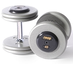 Troy 17.5 lbs. Pair Dumbbell Weight, Round Gray Hammerstone Plates w/ Rubber End Cap, Pro-Style (Commercial Gym Quality)