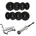 Black Rubber Bumper Plate Weight Set w/ Barbell & Rack (Commercial Quality) by Troy Barbell