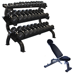 5lb to 75lb Hex Rubber Dumbbells Set with Rack & Bench (Home Gym Use) by USA Sports